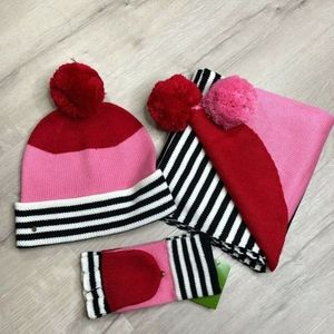 Kate Spade Set Scarf , Beanie and Mittens
